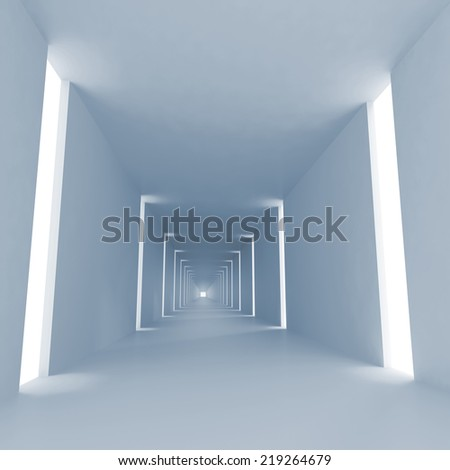 Light blue abstract empty 3d interior background with corridor perspective - stock photo