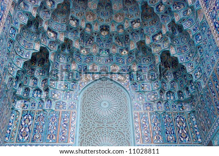 Light blue ancient mosaic on muslim mosque - stock photo