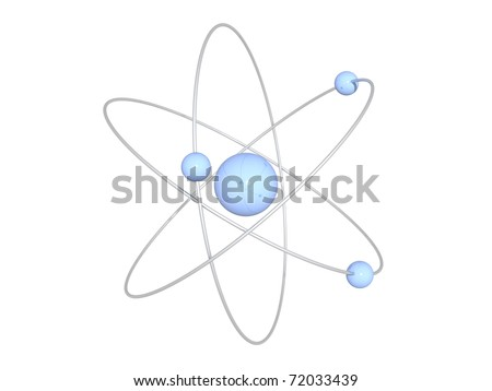 light blue atom structure isolated on white