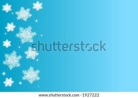 Light blue background with snowflakes - stock photo