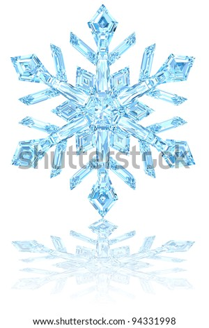 Light blue crystal snowflake on glossy white background. High resolution 3D image - stock photo