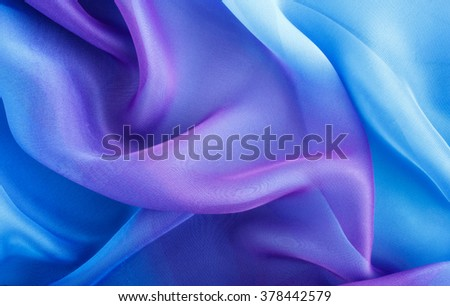 light blue fabric with large folds abstract  background - stock photo