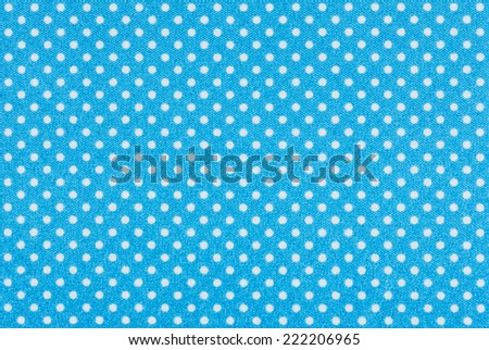 Light blue fabric with white polka dots - stock photo