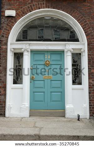 Light blue front door classic style - stock photo