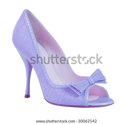 light blue glamour woman shoe on high heel isolated on white background
