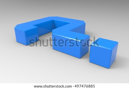 Light Blue Glossy Reflective 3D Illustration Of A Question Mark Symbol On A Transparent Background