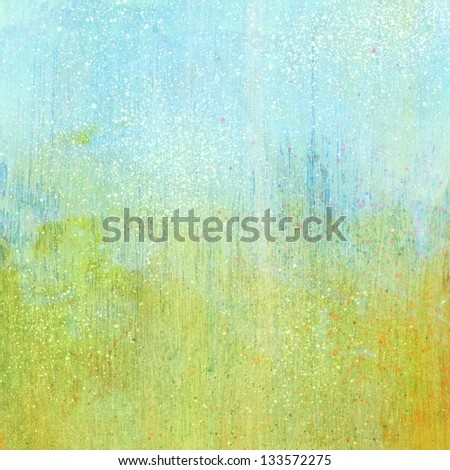 Light blue green grunge acrylic paint background texture paper - stock photo