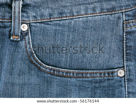 light blue jeans closeup - stock photo