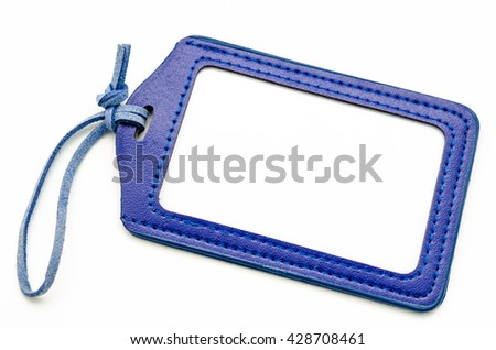 Light blue Leather Name Tag on white background. - stock photo