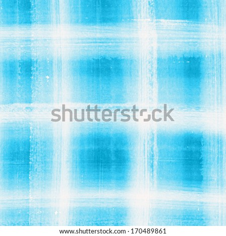 Light Blue plaid watercolor. Hand painted brush strokes background  - stock photo