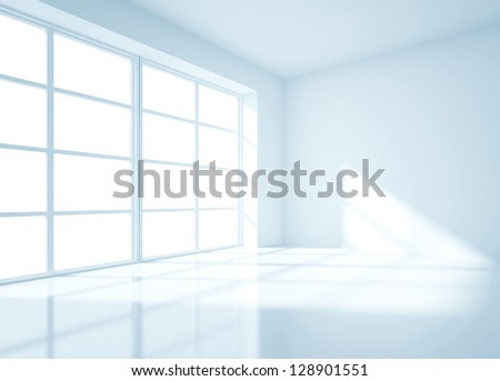 light blue room and big window - stock photo