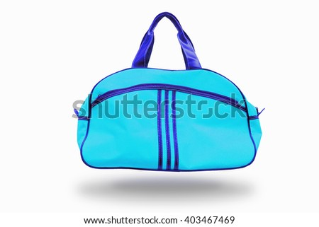 Light Blue sports bag,with clipping path - stock photo