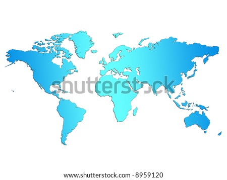 Light blue word map on simple white background