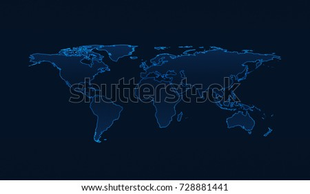 Light blue world map on dark stock photo 728881441 shutterstock light blue world map on dark blue background elements of this image furnished by nasa gumiabroncs Gallery