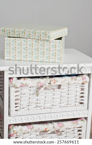 Light box on the white bedside table - stock photo