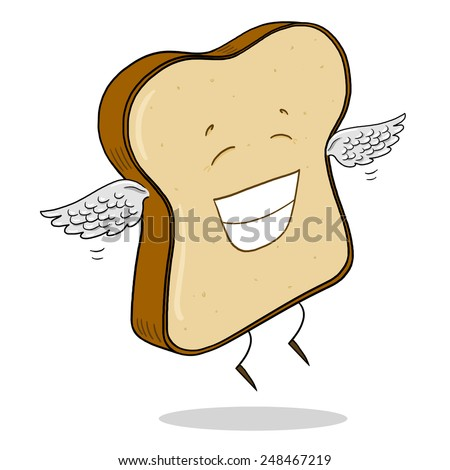 Light Bread Slice Cartoon - stock photo