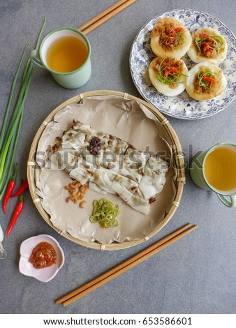 Easy to digest stock images royalty free images vectors light breakfast meal steamed chee cheong fun chwee kueh both meals are non forumfinder Images
