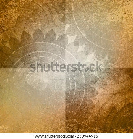 light brown and white background, blocks or squares with faded old vintage texture and floral pattern, rustic shabby chic background design - stock photo