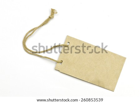Light brown blank tag tied with brown string