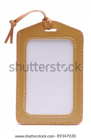 Light Brown Leather Name Tag - stock photo