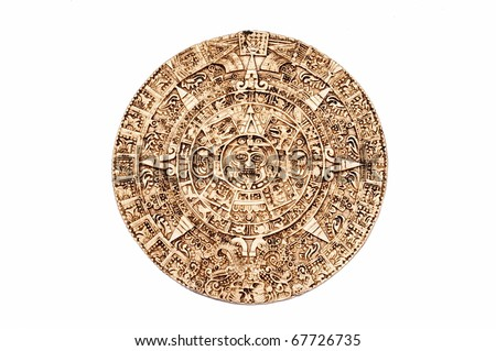 Light brown Maya calendar isolated on white background - stock photo