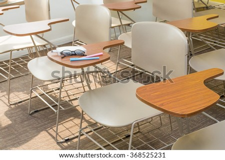 Light Brown Office Chairs in A Clean Classroom of Simple Decoration