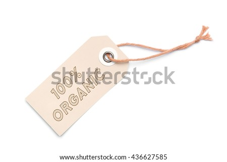 Light brown 100% Organic carton label tag with special sales discount message - stock photo