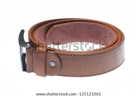 Light brown plain leather belt isolated on white - stock photo