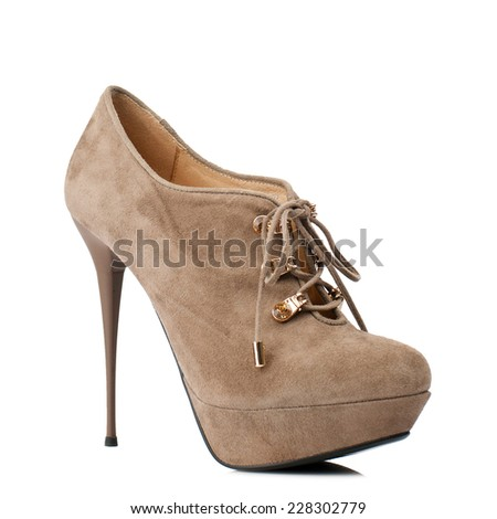 Light brown suede boot isolated on white background.  - stock photo