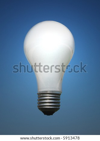 Light bulb against the blue sky