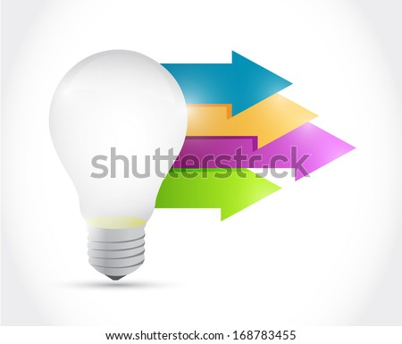 light bulb and arrow illustration over a white background - stock photo