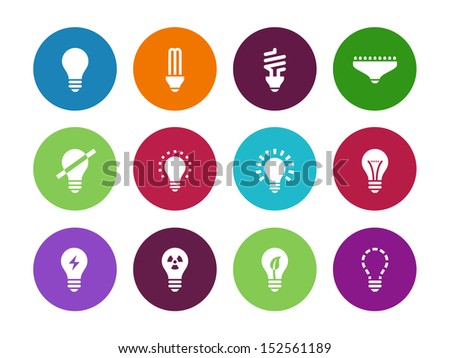 Light bulb and CFL lamp circle icons on white background. See also vector version. - stock photo