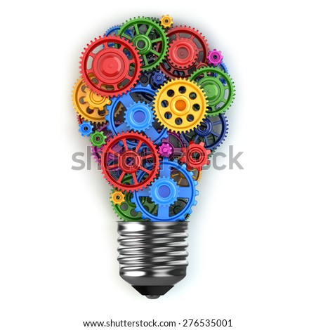Light bulb and gears. Perpetuum mobile idea concept. 3d - stock photo