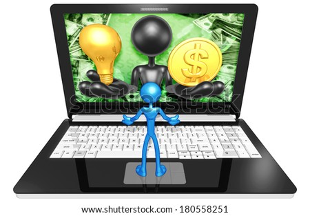 Light Bulb And Gold Coin On A Laptop - stock photo