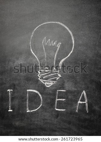 Light bulb and text idea on a black chalkboard with chalk dust