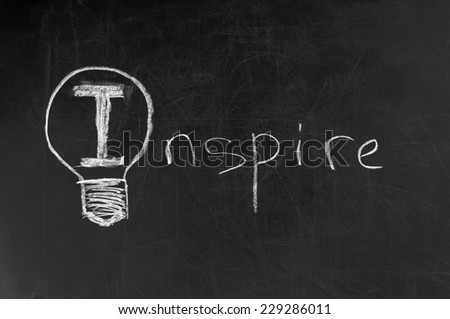 light bulb as symbol of Inspire word - stock photo