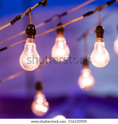 light bulb at dusk - stock photo