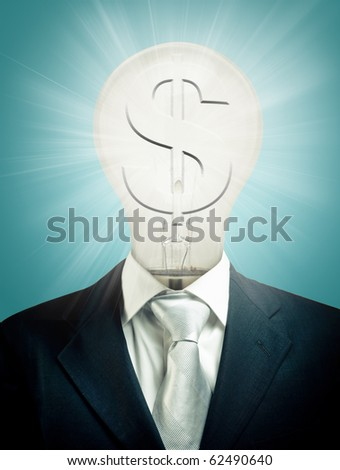 Light bulb businessman with dollar sign - stock photo