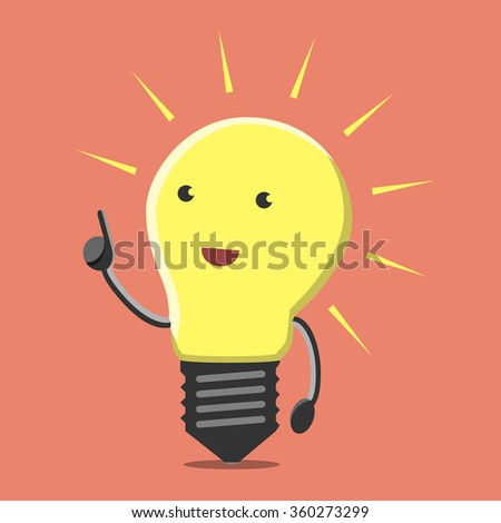 Light bulb character with great new creative idea in aha moment on orange background. Lightbulb, insight, eureka, inspiration concept. Flat style - stock photo