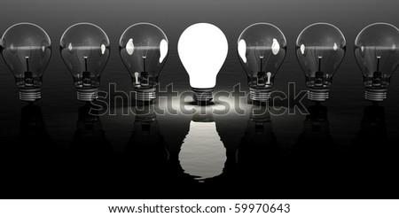 Light bulb clipart on black background - stock photo