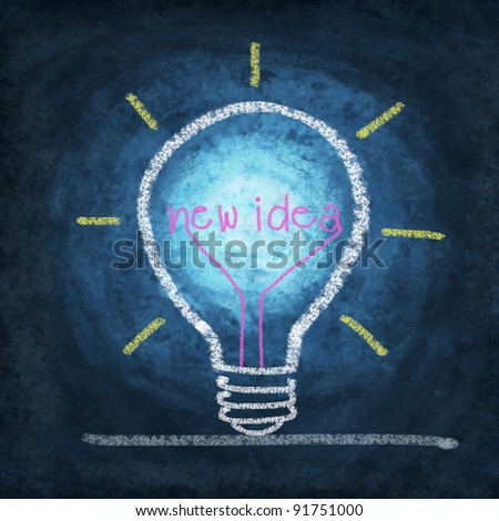 light bulb ,concept thinking new idea ,drawing by chalk - stock photo