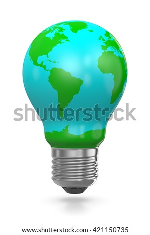 Light Bulb Covered with a World Map, 3D Illustration  Isolated on White Background - stock photo