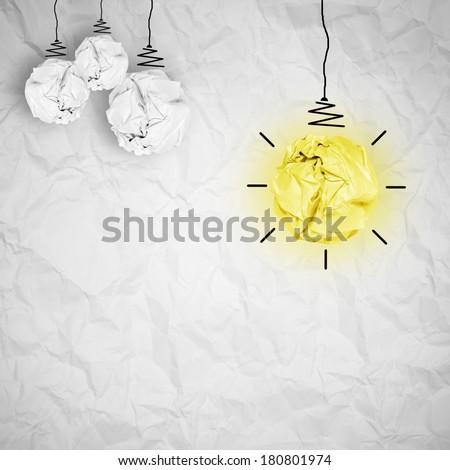 crumple white pendant lamp lighting. light bulb crumpled paper as creative concept crumple white pendant lamp lighting