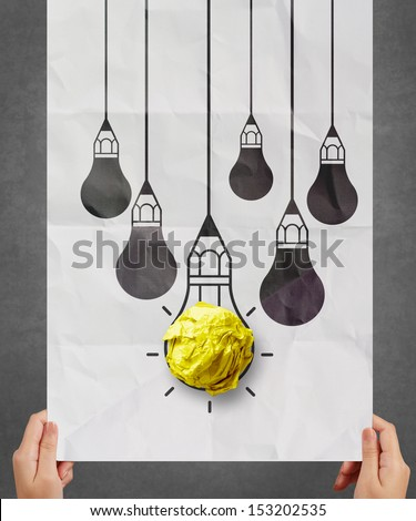 light bulb crumpled paper in pencil light bulb as creative concept - stock photo