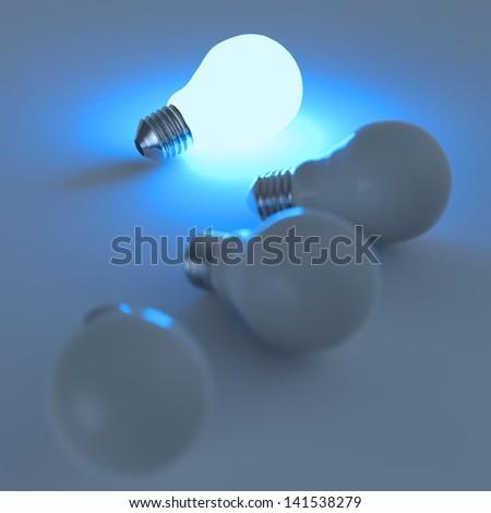 light bulb 3d on blue background - stock photo