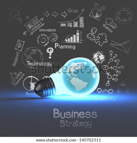 light bulb 3d on business strategy background - stock photo