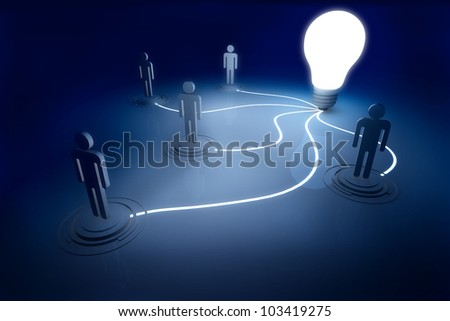 Light Bulb 3D render Connect Outstanding Brightness in the Dark and Shadow - stock photo