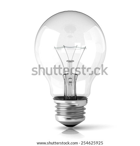Light bulb. 3D render illustration isolated on white background.