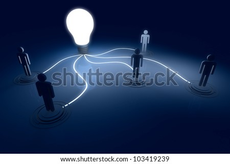 Light Bulb 3D render Outstanding Connect Human in the Dark and Shadow - stock photo