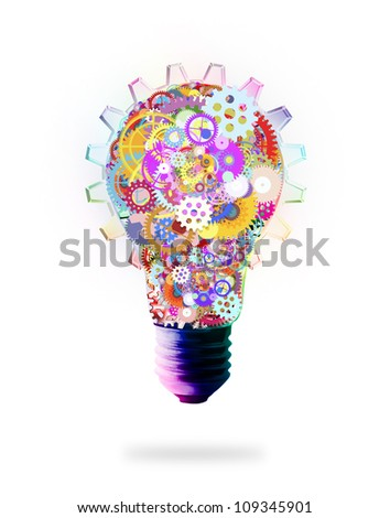 light bulb design by cogs and gears , creative idea concept - stock photo